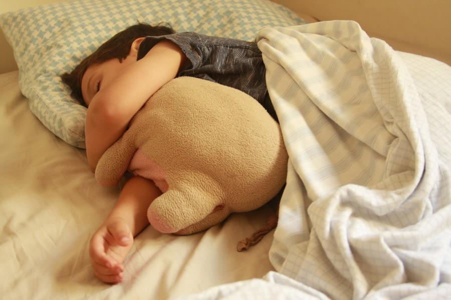 ילד ישן עם בובת חזיר