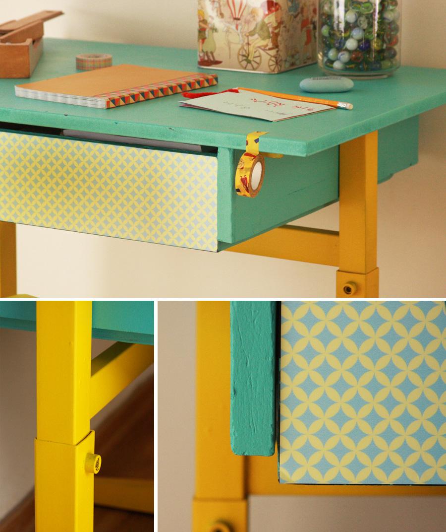 שיפוץ שולחן בית ספר | שולחן כתיבה לילדים | שולחן בית ספר לפני ואחרי שיפוץ | בלוג סימני דרך | naamasimanim.co.il
