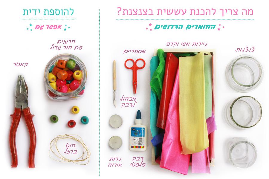יצירה לילדים לחנוכה: איך להכין עששיות צבעוניות בצנצנת | פעילות לילדים | יצירה לחופש חנוכה | עששית בצנצנת | בלוג סימני דרך | naamasimanim.co.il