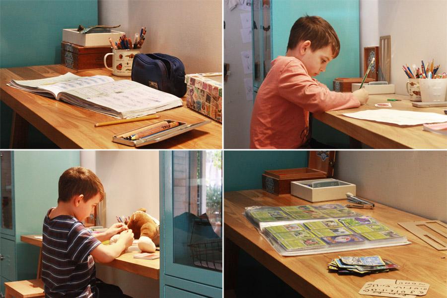 שיפוץ פינת עבודה לילדים | פינת עבודה ויצירה | פינה מעוצבת לילדים | חומרי עבודה לילדים | ילד עובד ליד שולחן עבודה | בלוג סימני דרך | naamasimanim.co.il