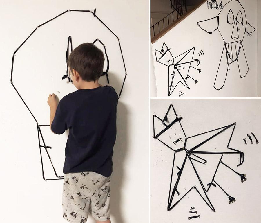 שיפוץ פינת עבודה לילדים | פינת עבודה ויצירה | קיר סלוטקסט לתליית ציורים | יצירה לילדים בחוטי טריקו | בלוג סימני דרך | naamasimanim.co.il